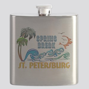 3D Palms Waves Sunset Spring Break ST PETERS Flask