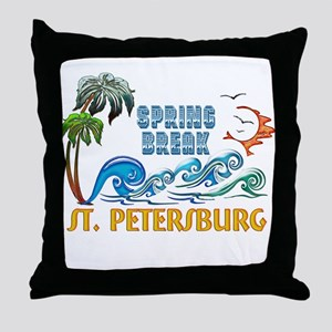 3D Palms Waves Sunset Spring Break ST Throw Pillow