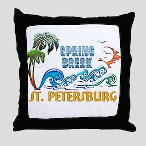 3D Palms Waves Sunset Spring Break ST Throw Pillow