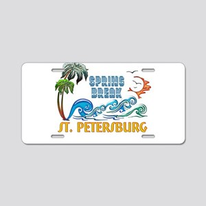 3D Palms Waves Sunset Sprin Aluminum License Plate