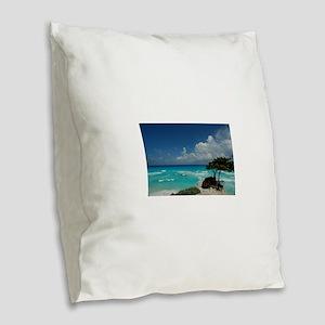 beach vacation Burlap Throw Pillow