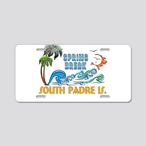 3D Palms Waves Sunset Sprin Aluminum License Plate