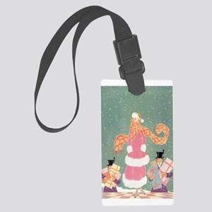 Christmas Shopping in the City Large Luggage Tag