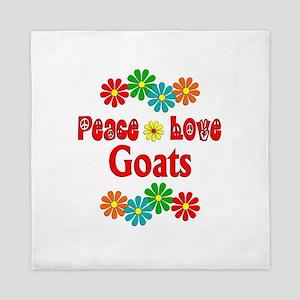 Peace Love Goats Queen Duvet