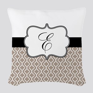 Beige Black Quatrefoil Monogram Woven Throw Pillow