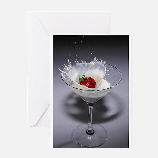 strawberry milk cocktail glass spla Greeting Cards