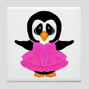 Penguin in Pink Dress Tile Coaster
