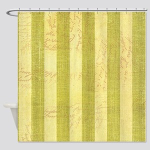Faded Green Stripes Shower Curtain