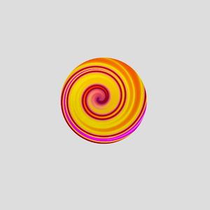 Yellow Pink Orange Swirl Mini Button