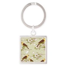 Birds and Cherry Blossoms Square Keychain