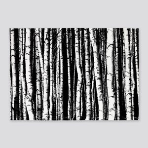 Black And White Birch Trees 5 X7 Area Rug