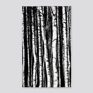 black and white birch trees Area Rug