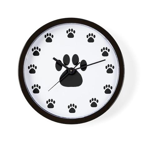 BLACK PAW PRINT Wall Clock