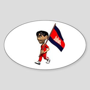 Cambodia Boy Oval Sticker