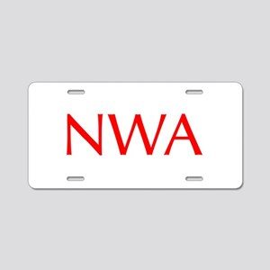 NWA-Opt red Aluminum License Plate