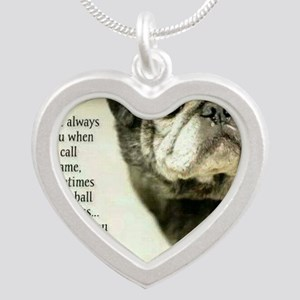 Pug Silver Heart Necklace