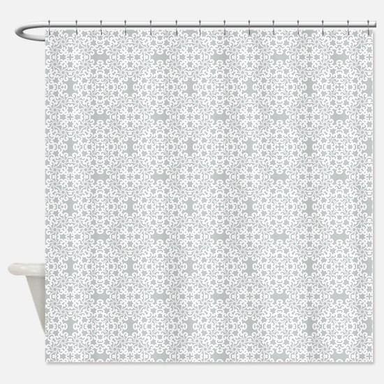 Glacier Gray & White Lace 2 Shower Curtain