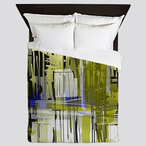City in Blue and Bronze Queen Duvet