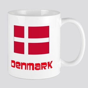Denmark Flag Retro Red Design Mugs