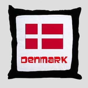 Denmark Flag Retro Red Design Throw Pillow