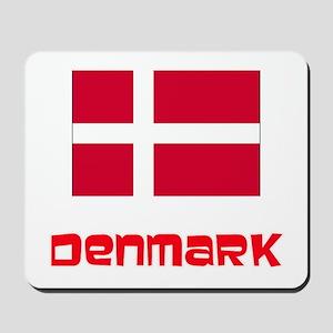 Denmark Flag Retro Red Design Mousepad