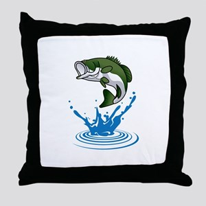 Bass Jumping Throw Pillow