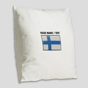 Finland Flag (Custom) Burlap Throw Pillow