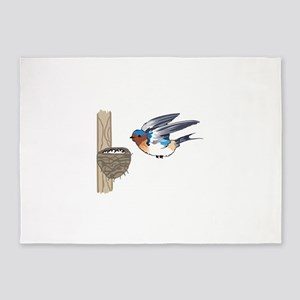 BARN SWALLOW WITH NEST 5'x7'Area Rug