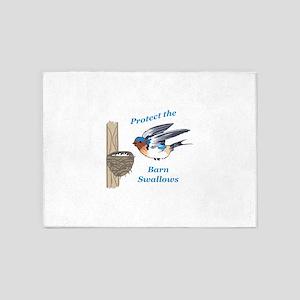 PROTECT BARN SWALLOWS 5'x7'Area Rug