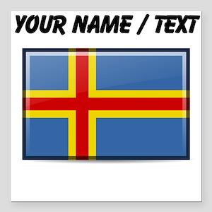 """Aland Islands Flag (Custom) Square Car Magnet 3"""" x"""