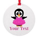 Personalizable Penguin in Pink Ornament