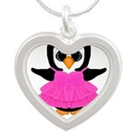 Personalizable Penguin in Pink Necklaces