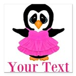 Personalizable Penguin in Pink Square Car Magnet 3