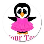 Personalizable Penguin in Pink Round Car Magnet