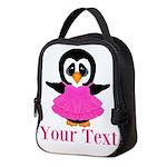 Personalizable Penguin in Pink Neoprene Lunch Bag