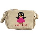 Personalizable Penguin in Pink Messenger Bag