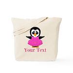 Personalizable Penguin in Pink Tote Bag