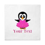 Personalizable Penguin in Pink Queen Duvet