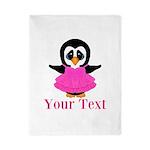 Personalizable Penguin in Pink Twin Duvet