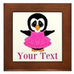 Personalizable Penguin in Pink Framed Tile