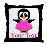 Personalizable Penguin in Pink Throw Pillow