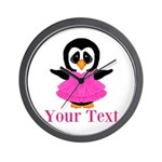 Personalizable Penguin in Pink Wall Clock