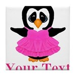 Personalizable Penguin in Pink Tile Coaster