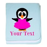 Personalizable Penguin in Pink baby blanket