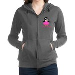 Personalizable Penguin in Pink Women's Zip Hoodie