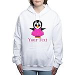 Personalizable Penguin in Pink Women's Hooded Swea