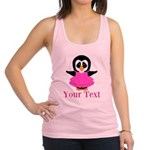 Personalizable Penguin in Pink Racerback Tank Top