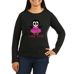 Personalizable Penguin in Pink Long Sleeve T-Shirt