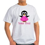 Personalizable Penguin in Pink T-Shirt