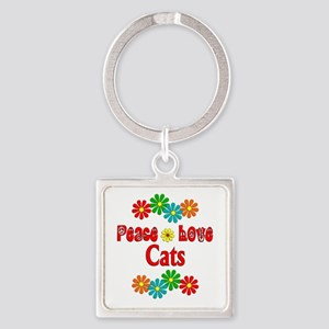 Peace Love Cats Square Keychain